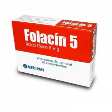 FOLACIN 5 MG X 70 TABLETAS...