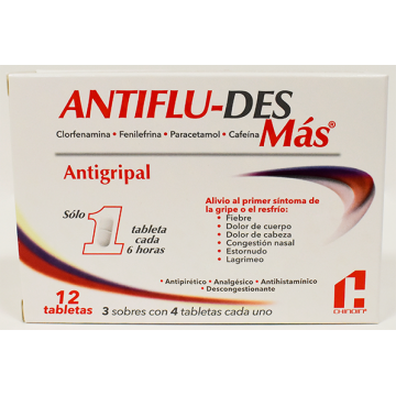 ANTIFLU-DES MÁS X 12 TABLETAS